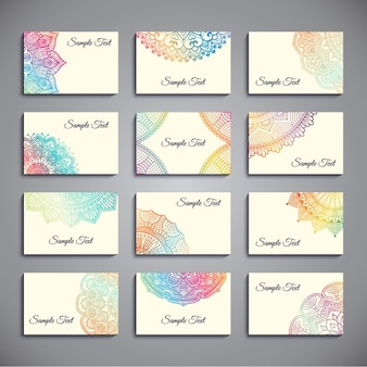 Set of business cards with colorful mandalas