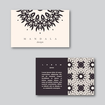 Set of business cards with hand drawn mandala.