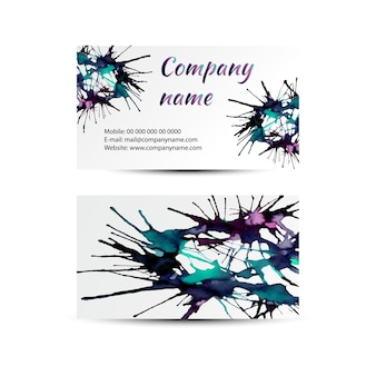 Set of business cards with watercolor splashes