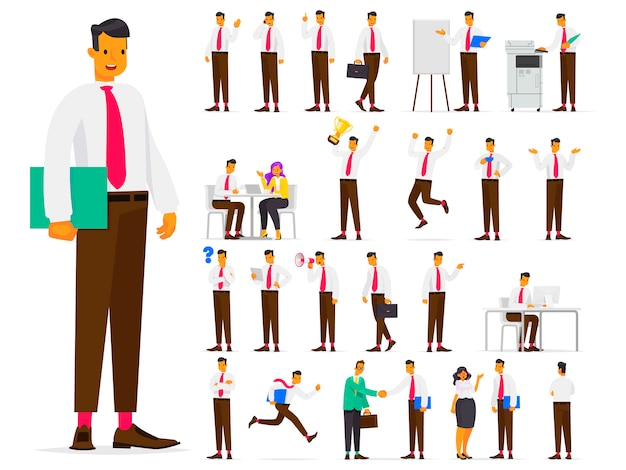 Set of business character  in different situations at work. office worker man