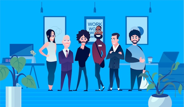 A set of business characters for entrepreneurs. team work cartoon illustration. different people in the background of the office.