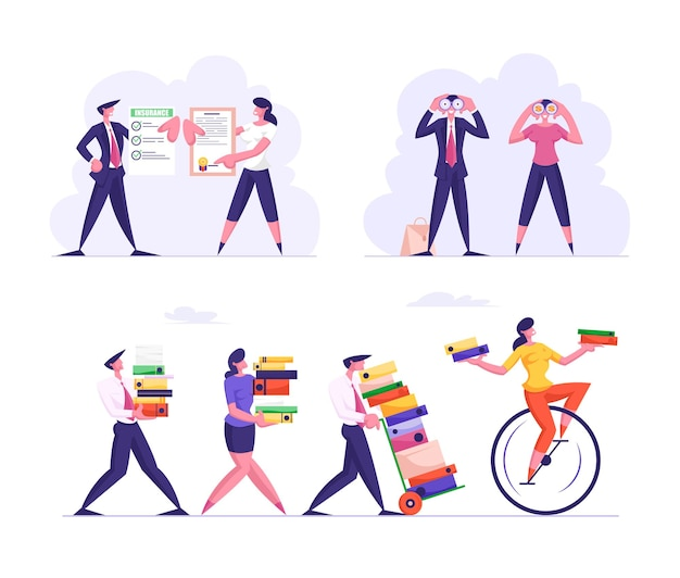 Set of business characters overloaded with work carry huge piles of folders