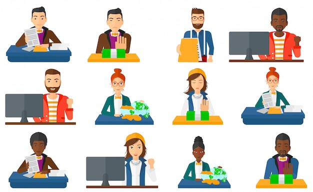 Set of business characters with money