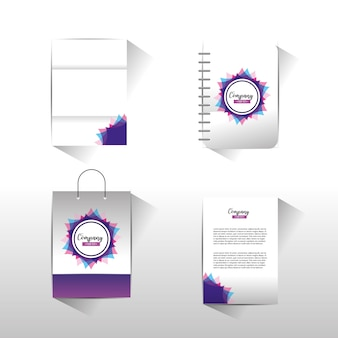 Set business company stationary template with documents