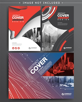 Set of business cover brochure template digital infographic
