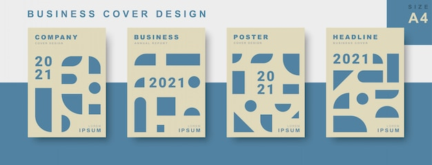 Set of business cover design with geometric shape