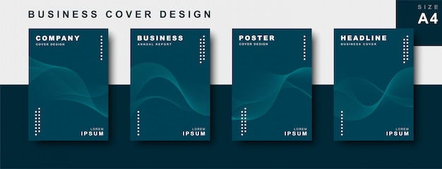 Set of business cover design with wavy lines