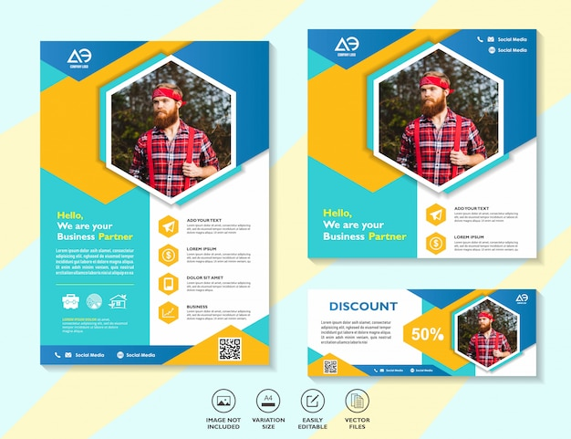 Set of business design templates for digital marketing mobile solutions networking