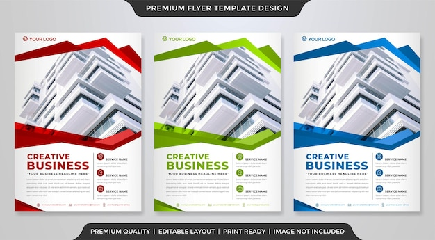 Set of business flyer layout template with modern and premium vector