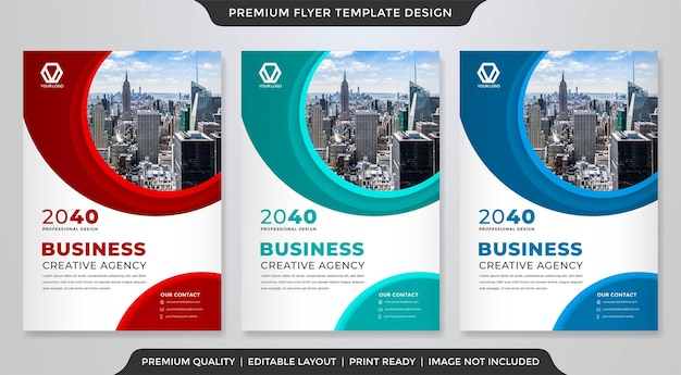 Set of business flyer template design with abstract style use for business promotion poster