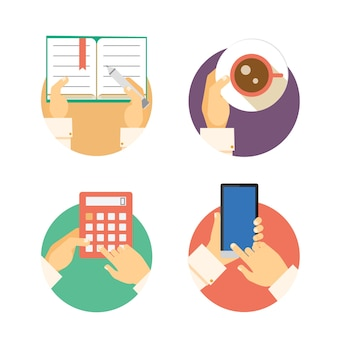 Set of business hands icons showing actions including writing in a diary  carrying coffee  accounting on a calculator and texting or navigating on a smartphone or mobile  vector illustrations