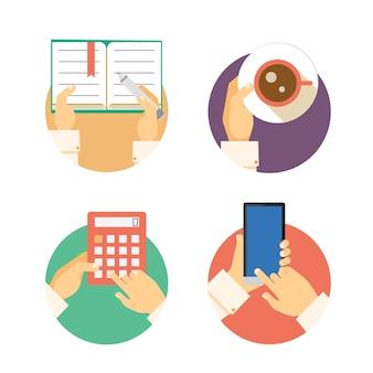 Set di icone delle mani di affari che mostrano azioni tra cui scrivere in un diario che trasporta la contabilità del caffè su una calcolatrice e inviare messaggi di testo o navigare su uno smartphone o illustrazioni vettoriali mobili