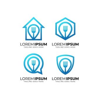 Set of business healthy food logo design