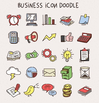 Set of business icon doodle