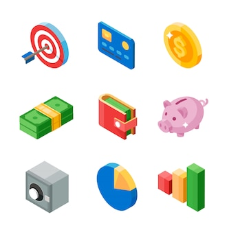 Set of business isometric flat icons. target, card, coin, cash, wallet, pig, safe, diagram and graph.  illustration.