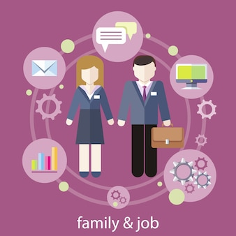 Set of business job icons in flat design around businesswoman and businessman. job family concept. balance between work and family life