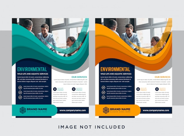 Set of  business leaflet in vertical layout template. abstract modern with orange and blue design. flat colors with paper cut  style. space for photo. wave shape of element designs.