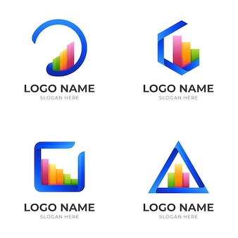 Set business logo design with 3d colorful style