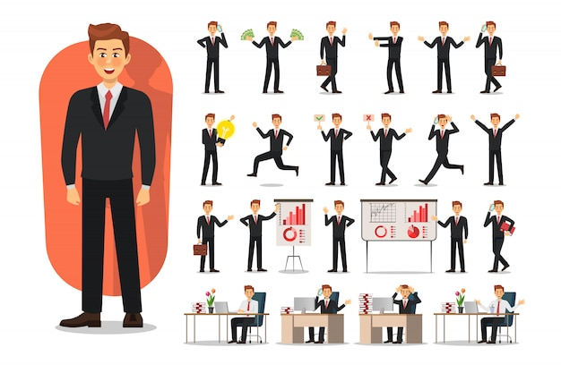 Set of business man character design. office worker man