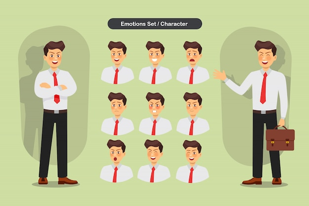 Set of business man facial different expressions. man emoji character. illustration.