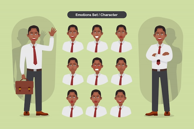 Set of business man facial different expressions. man emoji character