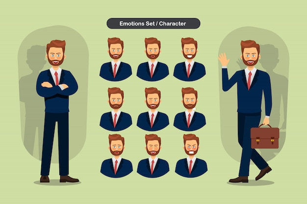 Set of business man facial different expressions.