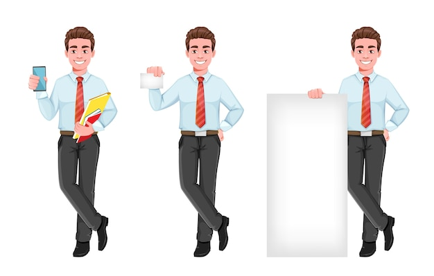 Set of business man in flat design