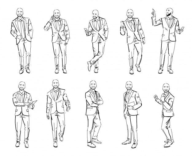 Set of business man illustrations