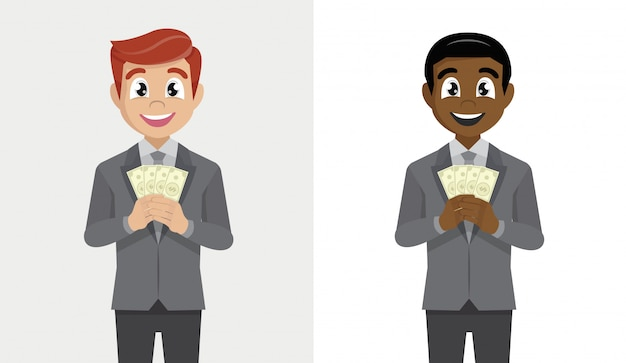 Set business man in suit standing holding fan of dollar cash.
