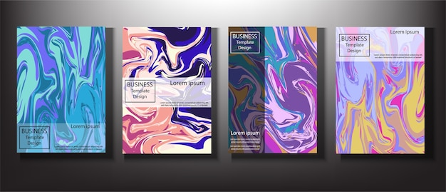 Set business marble design template.
