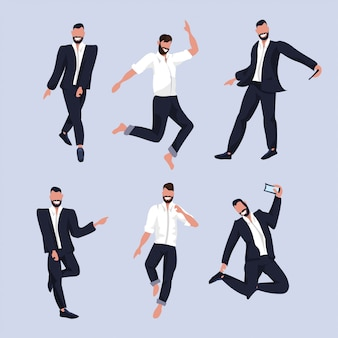 Set business men taking selfie photo on smartphone camera businessmen in formal wear collection male cartoon characters posing in suit  full length  illustration