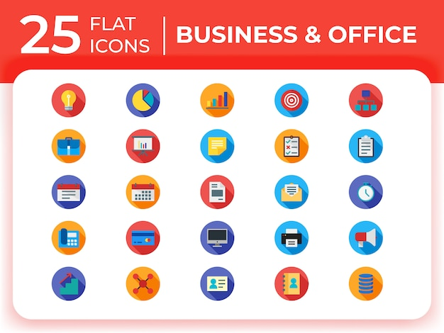Set of business modern flat icons .
