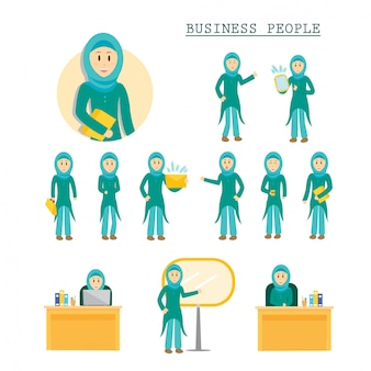 Set of business muslim woman character poses illustration