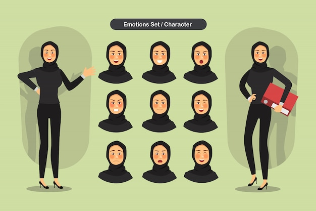 Set of business muslim woman facial different expressions.