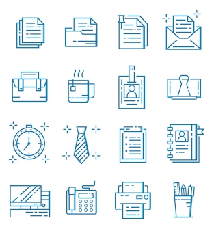 Set of business and office icons with outline style