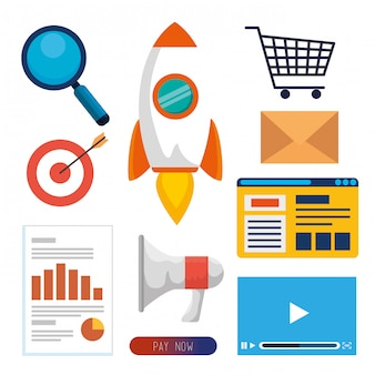 Set business office with website data information