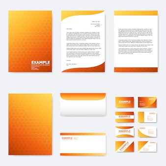 Set of business paper template with abstract hexagon on orange