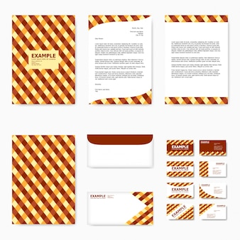 Set of business paper template with abstract yellow and brown tartan