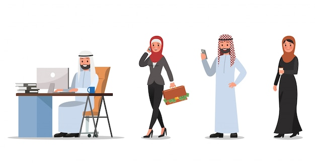 Set of business people character poses