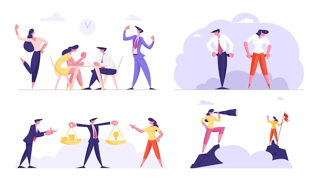 Set of business people characters arm-wrestling fight