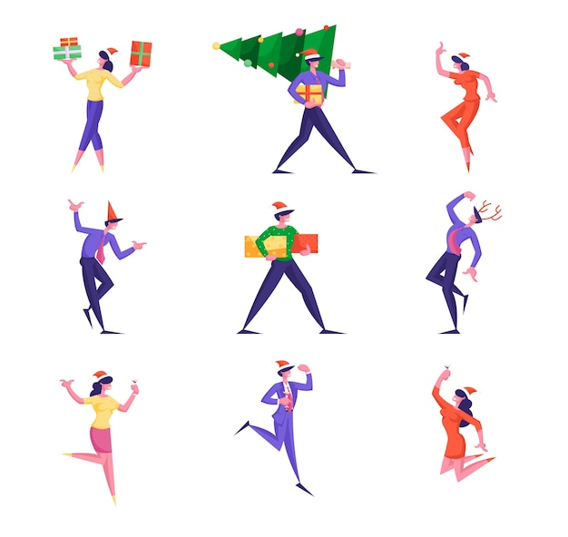 Набор персонажей деловых людей, празднующих новогоднюю вечеринку с елкой