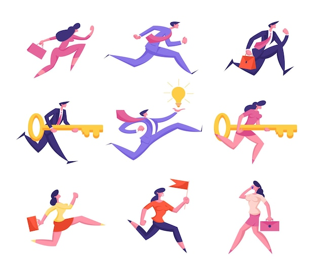 Set of business people characters running to success