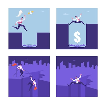 Set of business people in danger situation illustration