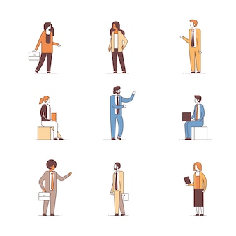 Set business people different office workers concept male female cartoon character full length collection line isolated