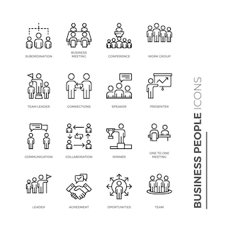 Set of business people icon, outline icon