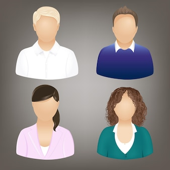 Set of business people icons, isolated on grey,