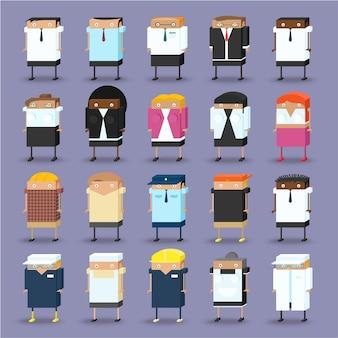 Set of business people isometric