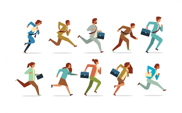 Set business people running competition concept male female office workers collection