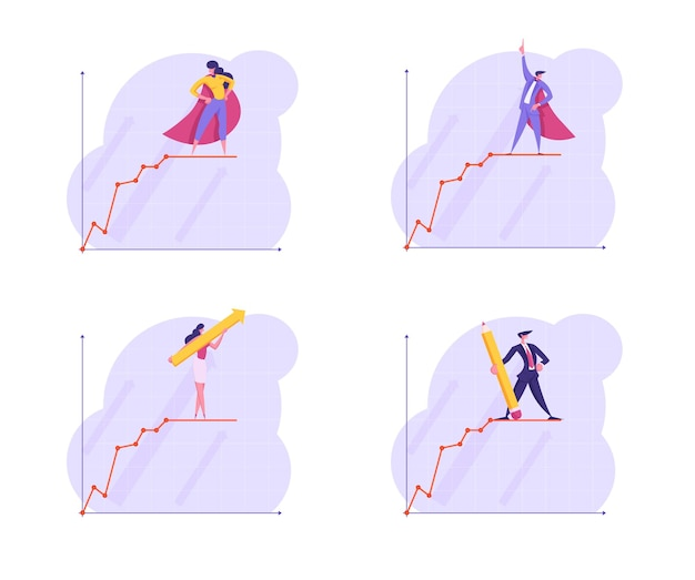 Set of business people stand on top of growing business chart curve line