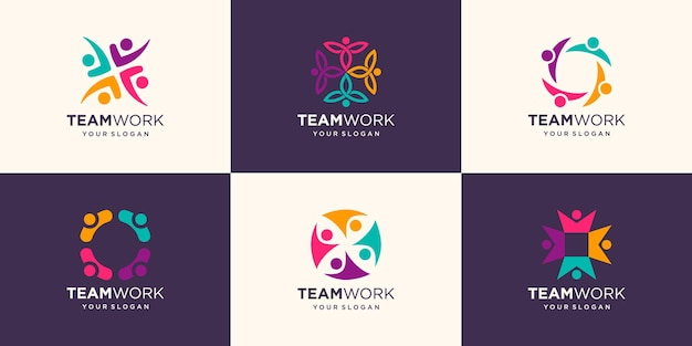 Set of business people together. illustration logo